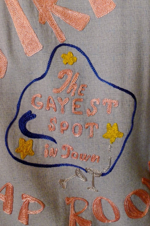 Gayest Spot In Town-- Amazing 1950s Gabardine Shirt with Chain Stitch Embroidery--M,L