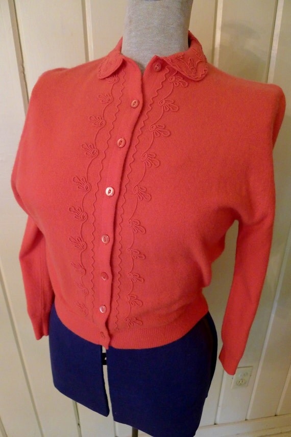 WATERMELON in CASHMERE--Amazing 1940s Pink Cashmere Cardigan with Embroidered Detail-S,M