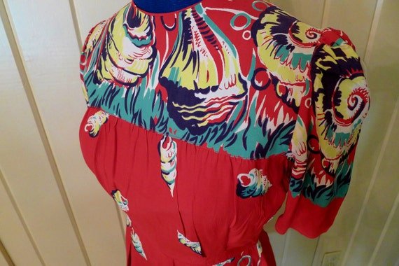 PEARL HARBOR--Fabulous Border Print 1940s Rayon Playsuit Romper Sunsuit in Red with Shell Print--S,M
