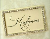 Gift Tag, Rhinestone Edged, Hand Calligraphy, Personalized,