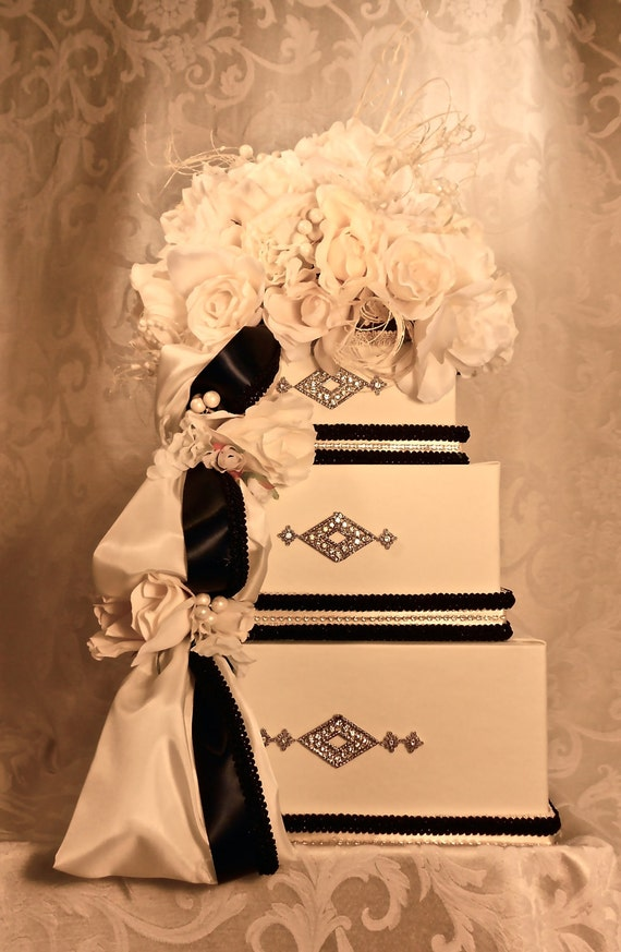 Please Do Not Order - Reserved for Chanel - Wedding Card Box Cream and Black,