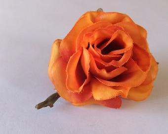 Flower Hair Clip -- Small Orange Rose