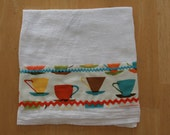 Cotton Towel with Retro Orange and Teal & Pink Coffee Cups Vintage Rick Rack -designer Robert Kaufman