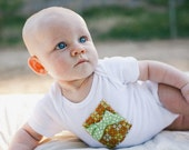 BABY ONESIE BODYSUIT for Baby Girl with Handmade Vintage Gift and Lime Polka Dot Bow