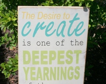 The Desire to Create hand painted wood sign
