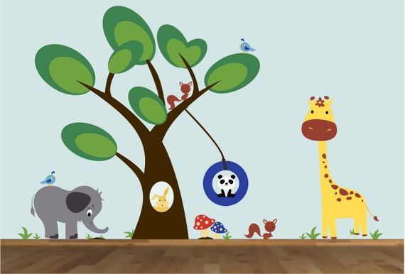 Children Wall Decals Tree Sticker Tree Decal Woodland Animals Decal