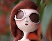 Whimsical Art Doll Miniature- Lauren clay sculpted