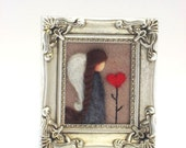 Valentines Decor - Valentines Day - Needle Felted Angel - Valentines Angel