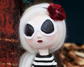 Custom Art Doll -Funky Retro  Doll - Big Glasses Doll - OOAK Art Doll