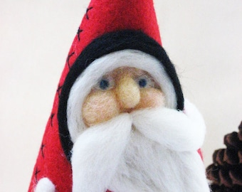 Needle Felted Santa -  Santa Christmas - Santa Cloth Doll - Christmas Decor - MADE TO ORDER
