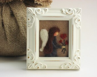 Needle Felted  Angel - Small white picture frame
