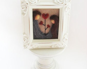 Father Daughter - Felted Picture - Father's Day
