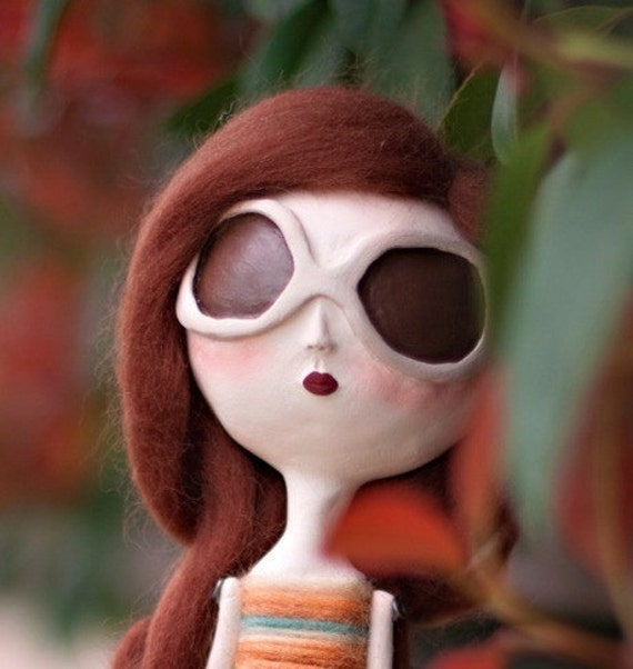Whimsical Art Doll Miniature- Lauren clay sculpted
