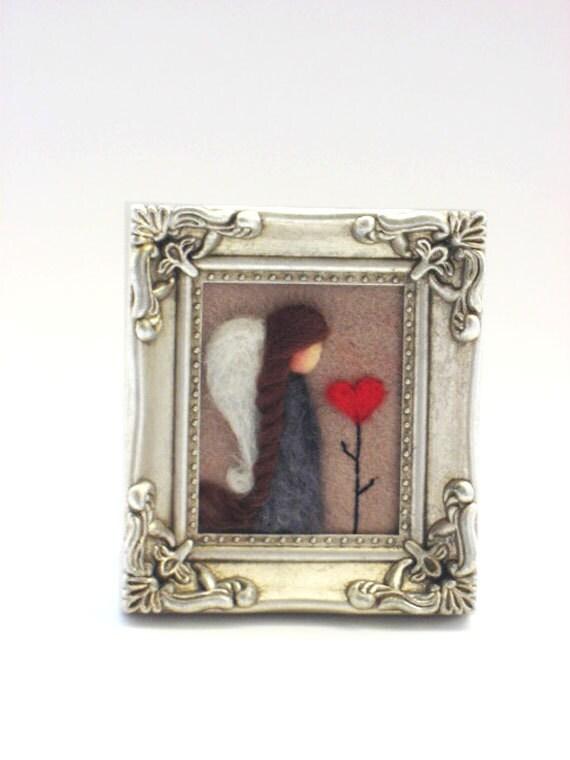 Valentines Decor - Valentines Day - Needle Felted Angel - Valentines Angel