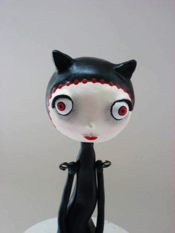 Black Cat Art Doll - Paper Clay Sculpted - Girl Cat Doll - Made To Order