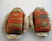 Vintage Coro Earrings Clip on Coral
