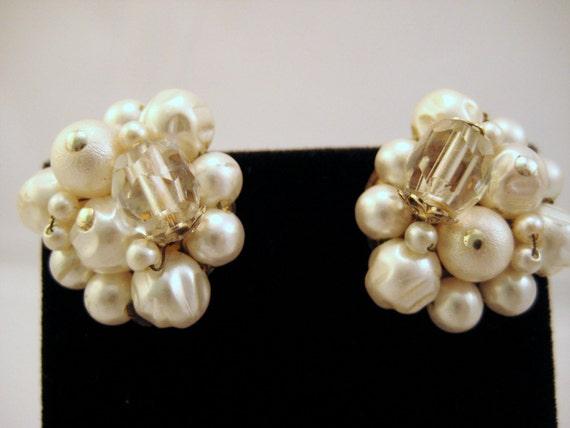 Cluster Earrings Vintage Japan White Pearl & Crystal