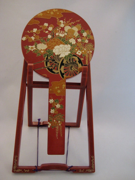 Vintage Vanity Hand Mirror & Stand Asian 1950's