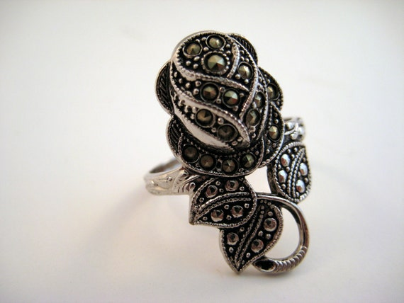 Vintage Marcasite and Rhodium Ring Rosebud Size 9.5