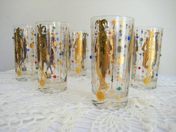 Vintage Set of Tall Glasses Iced Tea