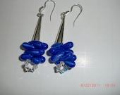 Blue Czech Glass and Sterling Earrings