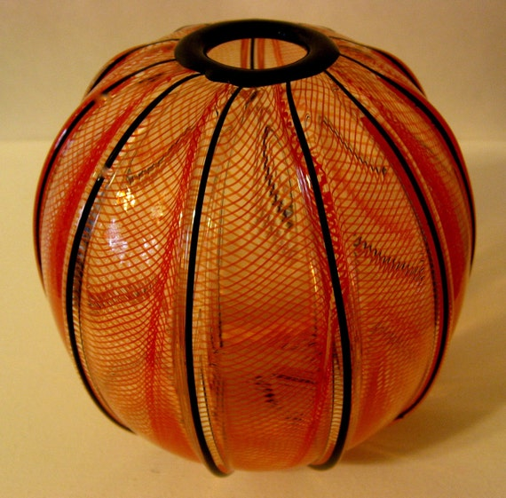 Red twisted cane ball vase