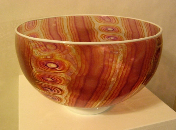 Pink cane and murini bowl with aventurine gold highlights