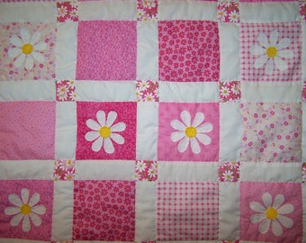 Girl's Pink Patchwork with Appliqued Daisies