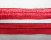 5 YARDS of Red Fold Over Elastic FOE - 1/2 inch width - Poinsetta Red- Bright True Red