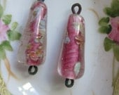 2 Antique Pink Glass Drops