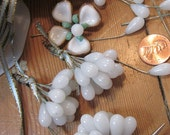 Vintage  Alabaster White  Glass Teardrops On Wire
