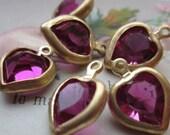 Vintage Swarovski Fuchsia Crystal Hearts