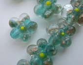 Gold Speckled Glass Flower Bead