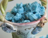 Irresistible Forget Me Not Japanese Glass Turquoise Blue Hooped Flower Beads