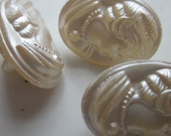 Antique Cameo Pearly Glass Buttons