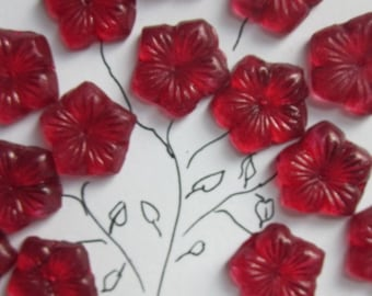 Vintage Cherry Color Flower Glass Bead