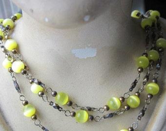 Three strand Chartreuse  Glass Beaded Chain