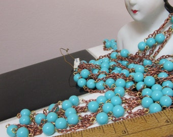 A Yard And A Half Of Chain With Turquoise  Colored Glass Beads