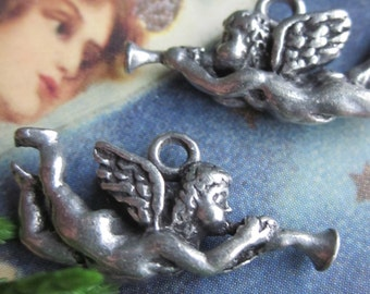 6 Cupids With Horn Charms