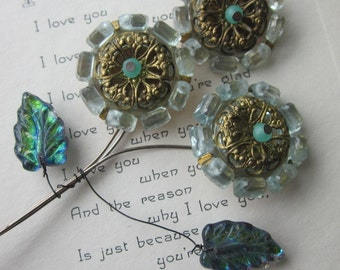 Vintage Brass, Glass and Lucite Wired Flower Bouquet