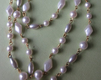 One And A Half Yards Pearl  Vintage Round And Diamond Shaped Chain