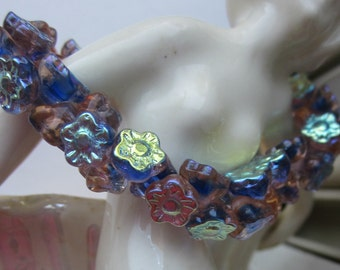 Variegated Purple  Czech Glass Flower  Beads