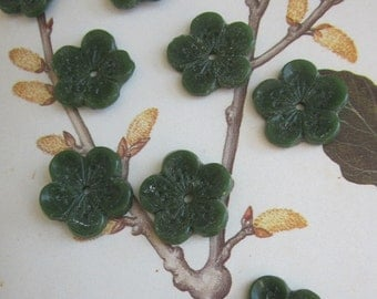 Antique Olive Green Glass Opaque Glass Flower Bead