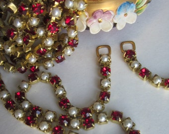 Vintage Ruby Crystal Rhinestone  And Glass Pearl Chain