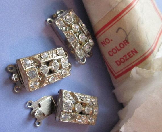 Antique Clasps with Rhinestones