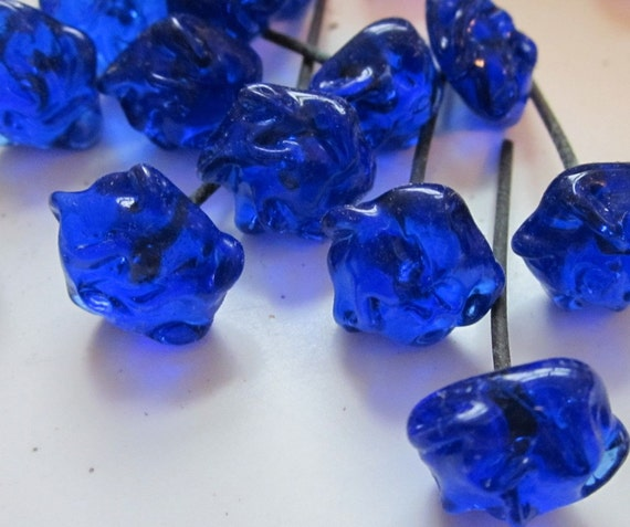 Vintage Cobalt Blue Glass Flowers On Wire