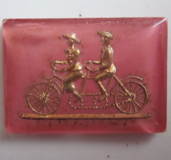 A Bicycle Built For Two Pink Cabochon