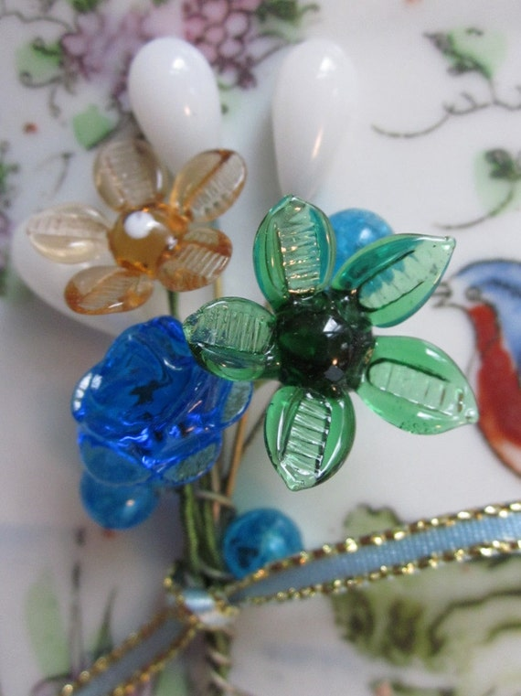 Vintage Glass French Flower Bouquet