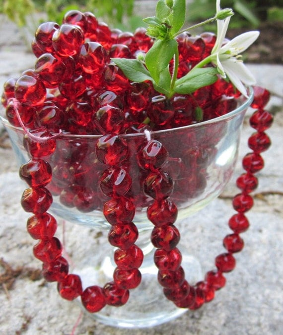 Lumpy Cranberry Vintage Glass Bead