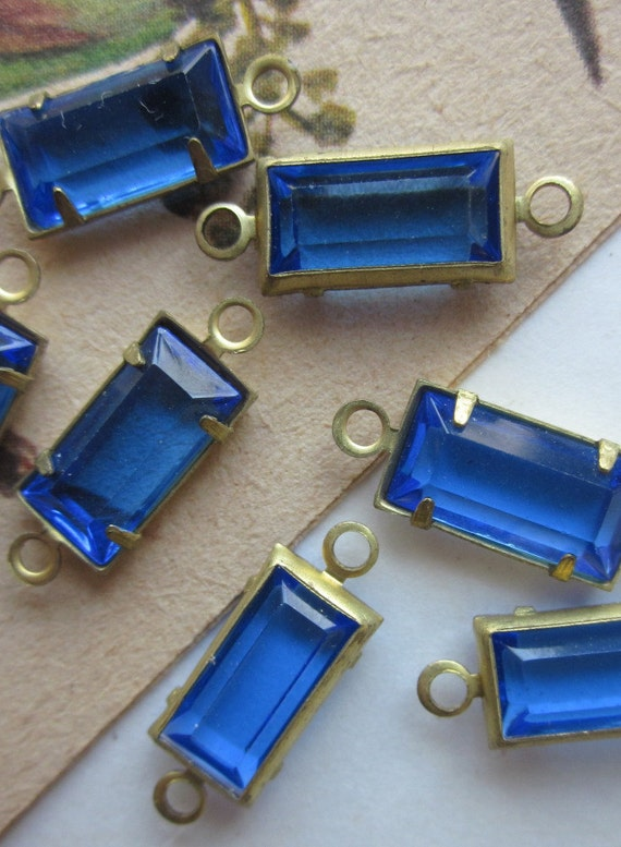 Sapphire Blue Rectangular Glass Connectors